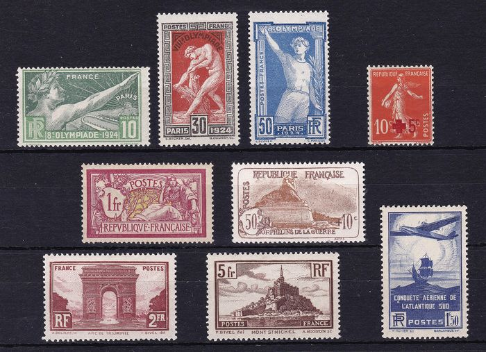 Frankrijk 1954/1934 - Small MNH collection on one stock card