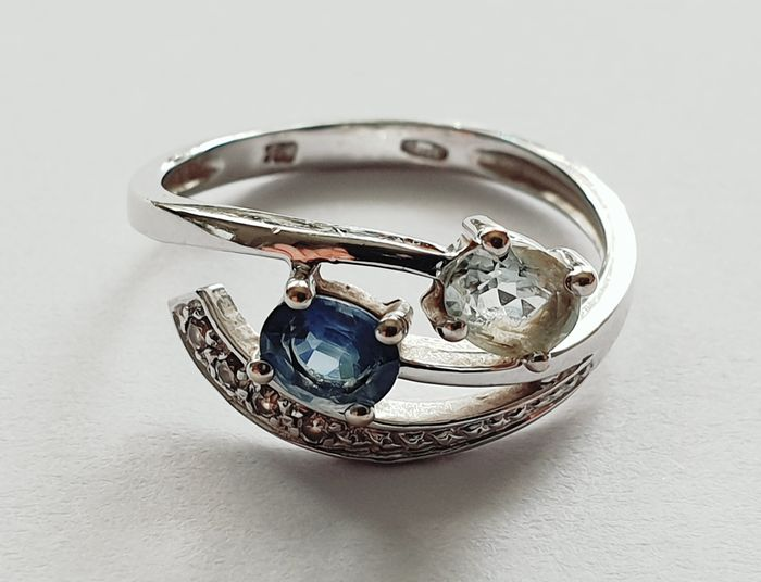 18 kt. White gold - Ring Topaz, Aquamarine - Diamonds