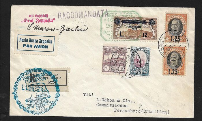 San Marino - Registered mail to Brazil stamped with Zeppelin L. 12 on airmail stamp + more