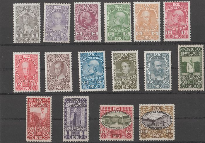 Oostenrijk 1910 - 80th birthday of Franz Joseph (without 10 kr) - Unificato Nr. 119/134