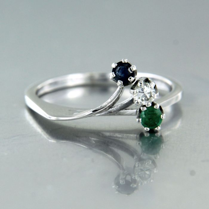 18 kt. White gold - Ring - 0.05 ct Diamond - Emerald, Sapphire
