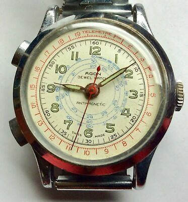 Agon - 17 jewels, telemeter dial, stopwatch function - AD200 - Heren - 1950-1959