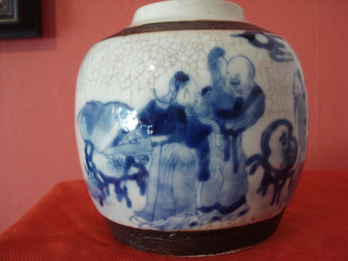 Ginger jar (1) - Blue and white - Pottery - Nanking - China - 19th century