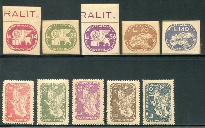 Italië koninkrijk 1945 - Coralit lion and cyclist, two sets, 10 values - Sassone NN. 3/12