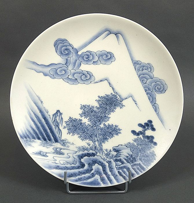Dish - Arita, Blue and white - Porcelain - Decorated with landscape and Mount Fuji - Japan - Mid 19th century (Edo / Meiji)