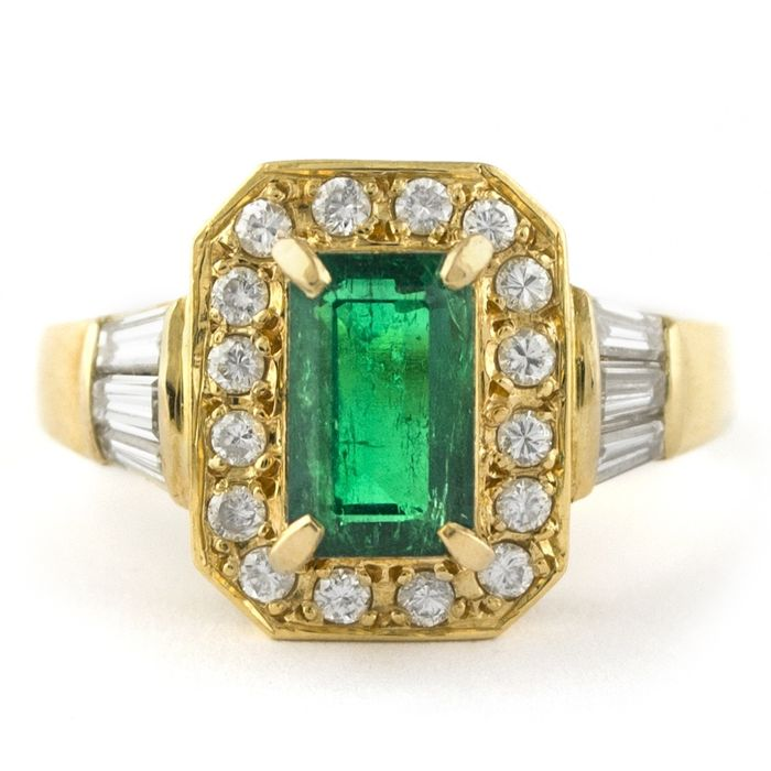 Exclusive - 18 kt. Yellow gold - Ring Emerald - Diamonds