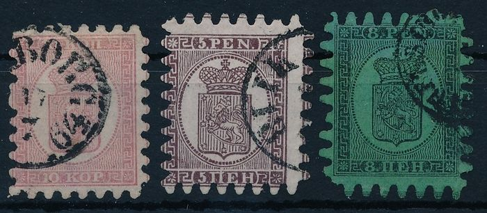 "Finland 1860 - Coat of arms, so called ""Zungenmarken"" (stamps with tongue-shaped perforation) 10 k pink, 15 p - Michel Nr. 4A, 5B, 6B"
