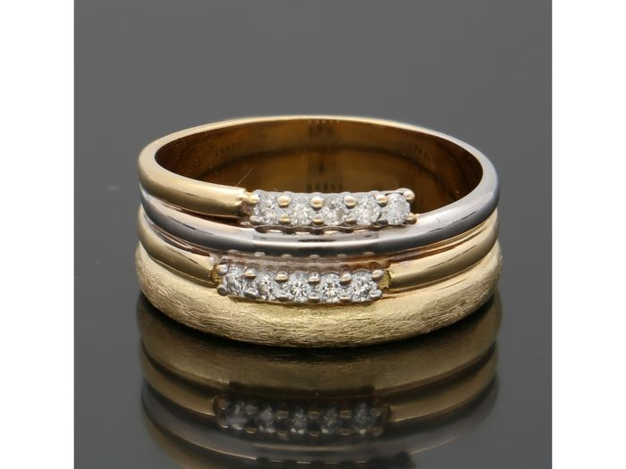 18 kt. Bicolour, Gold - Ring - 0.20 ct Diamond