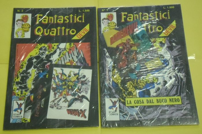 Fantastic Four nn. 1 e 2 - Blisterati con adesivi - Stapled - First edition - (1987)