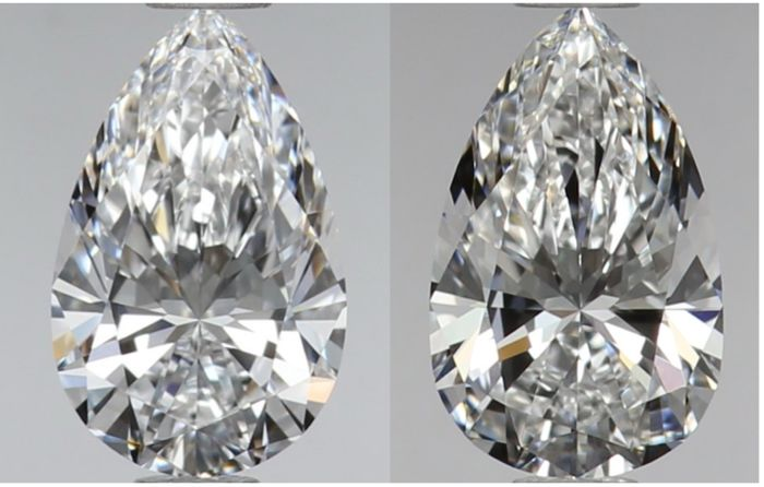 2 pcs Diamanten - 0.81 ct - Birne - D (farblos), E - VS1, VS2
