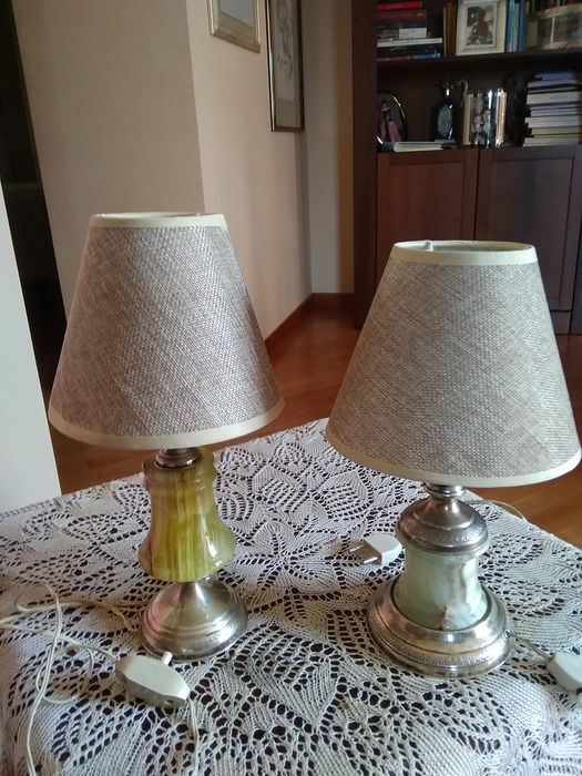 Pair of lamps - Silver 800 and Onyx - Italy - 40/50 years