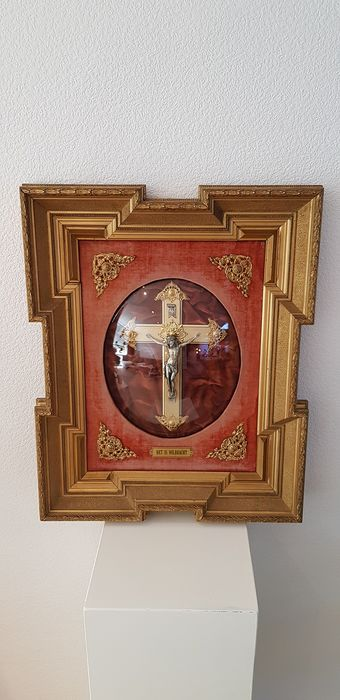 Crucifix - Art Deco - Gilt, Wood