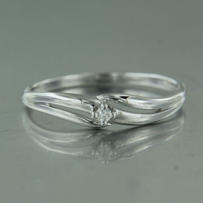 18 kt. White gold - Ring - 0.03 ct Diamond