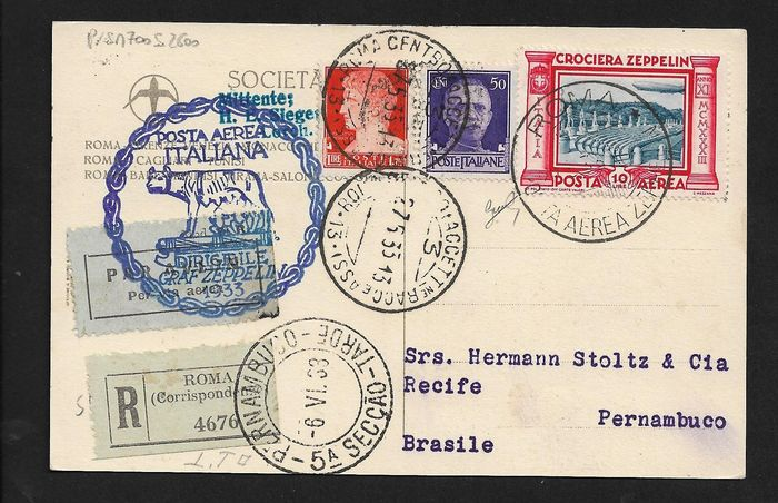 Italie 1933 - Kingdom, Zeppelin cruise, 10 Lire and complementary pieces on postcard from Rome to Brazil. - Sassone N° 47