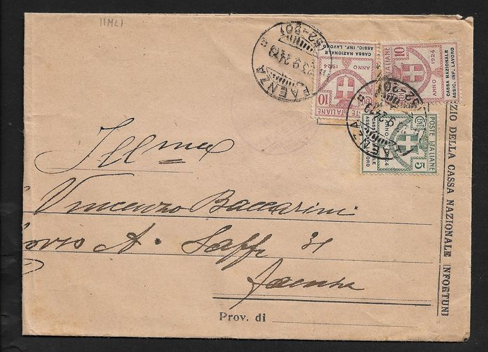 "Italy 1924 - Kingdom - State-controlled organisations c.5 + c. 10 x 2 ""cassa naz. assic. inf. lavoro"" on a - Sassone N° 17, 18."