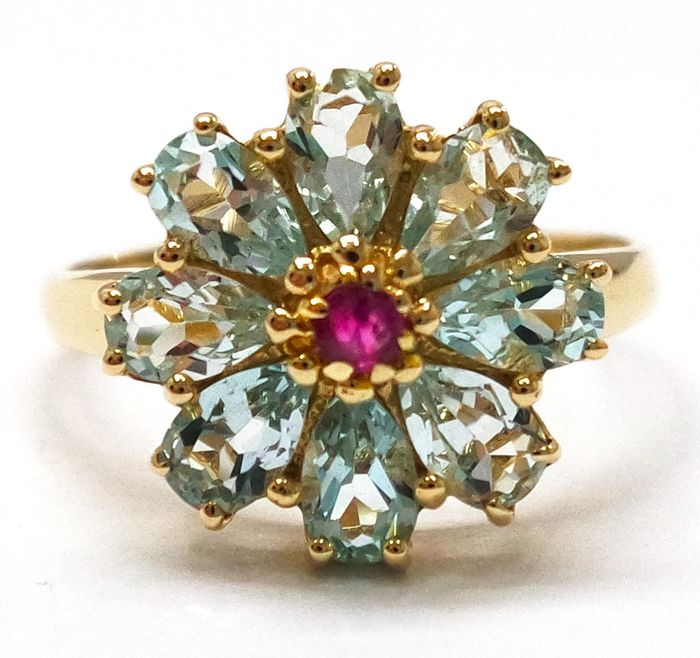 14 kt. Yellow gold - Ring - 2.00 ct Green Amethyst - Ruby