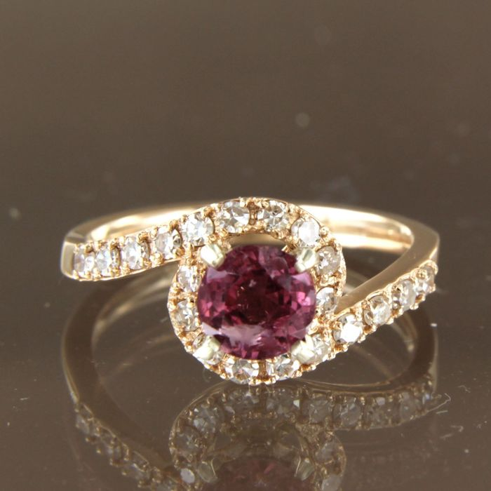 14 kt. Pink gold, White gold - Ring - 0.80 ct rubelite - Diamond