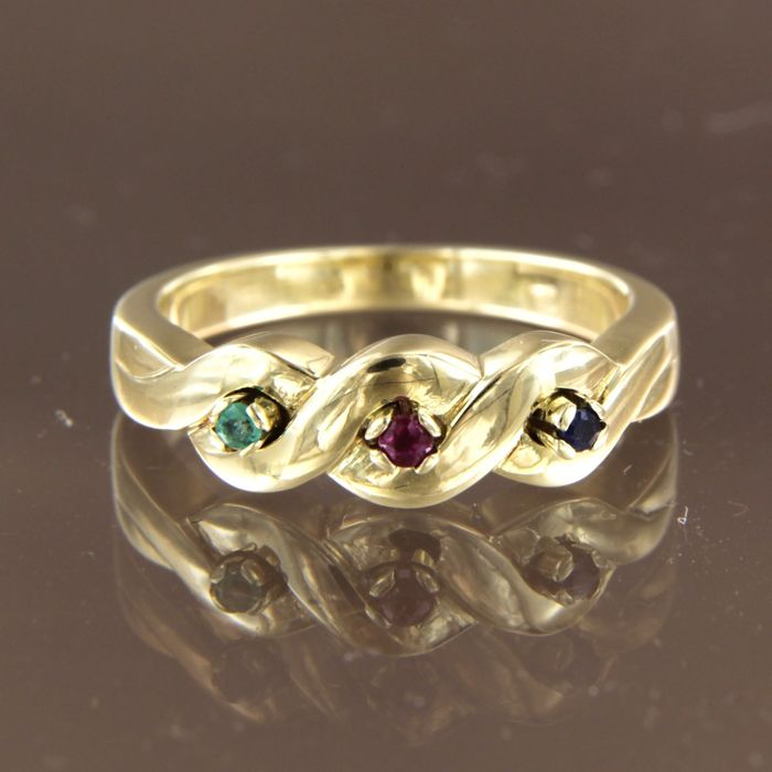 14 kt. Yellow gold - Ring Sapphire - Emerald, Ruby