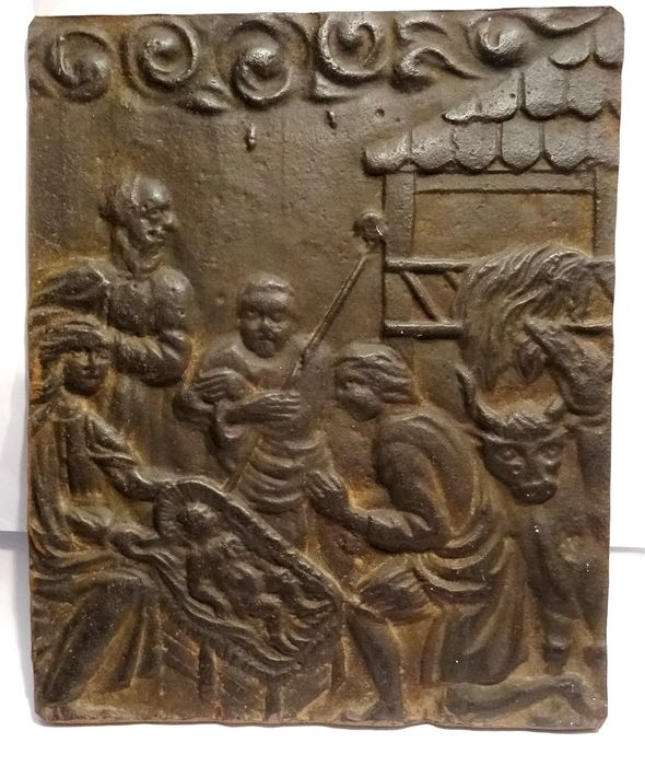 Bas relief - The adoration of Christ - antique fireplace plaque - Iron (cast) - mid 18th century