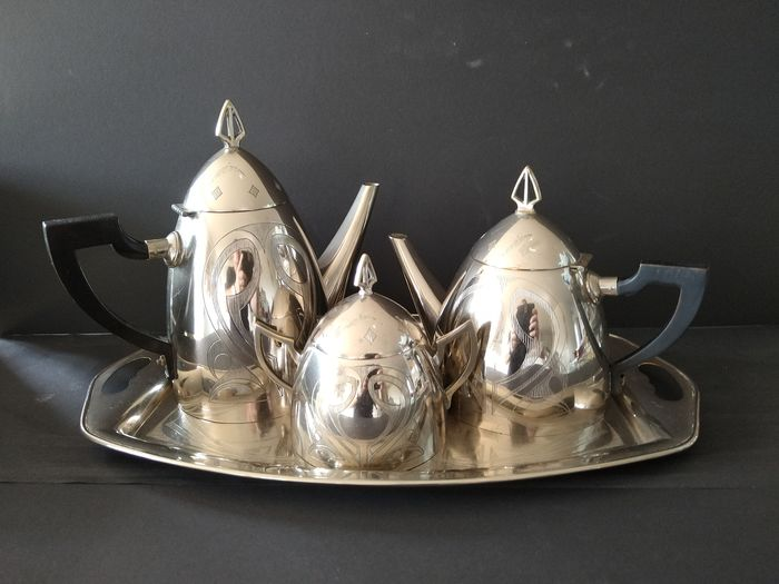 WMF - silver-plated Art Deco coffee core consisting of tray, coffee, teapot and sugar bowl (4)