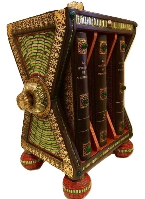 Pompeo Molmenti - Storia di Venezia nella vita privata (Luxurious leather binding with wood slipcase + Murano glass) - 1905