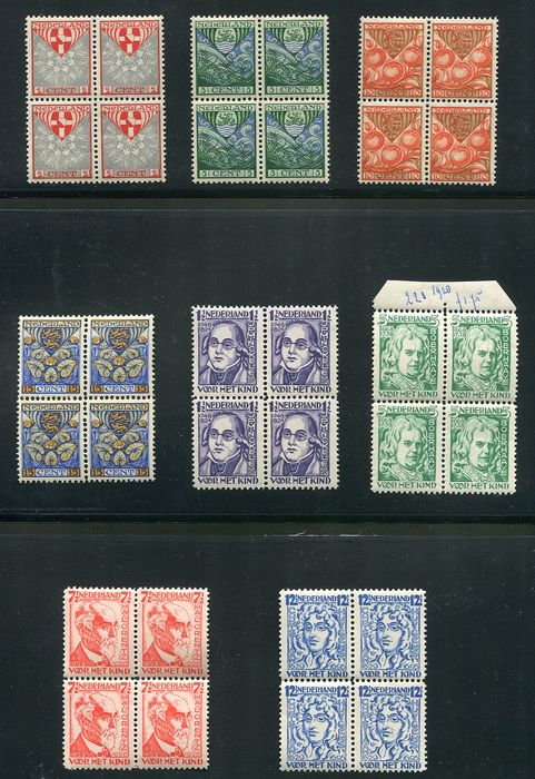 Netherlands 1926/1928 - Two series of Children's Aid stamps in blocks of four - NVPH 199/202 en 220/223