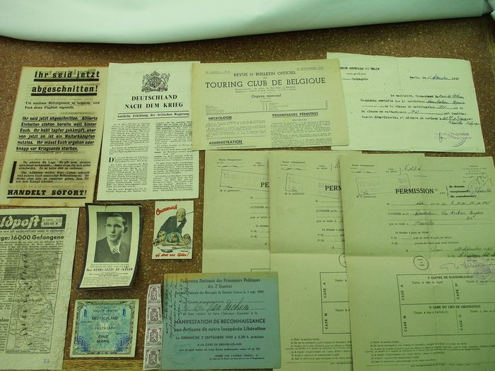 Belgium - Lot of 12 documents WW2 from various countries.
