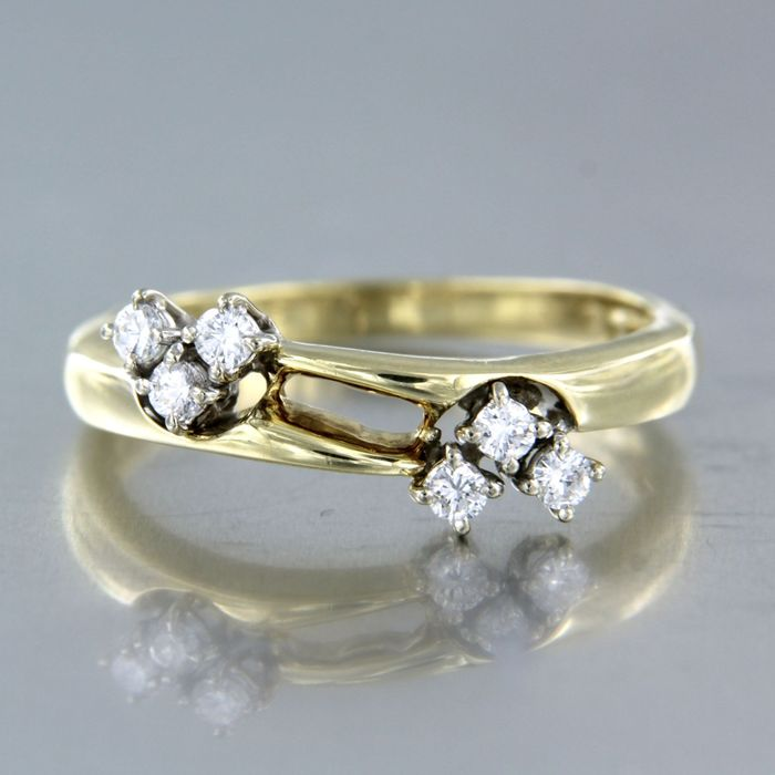 14 carats Or blanc, Or jaune - Bague - 0.20 ct Diamant