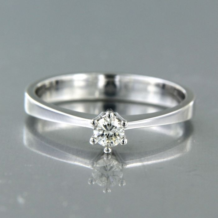 18 kt white gold - Ring - 0.15 ct Diamond
