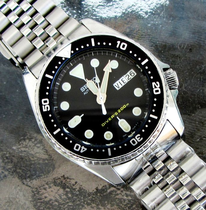 "Seiko - ""NO RESERVE PRICE"" SKX013 200M Eng. French day date Diver Jubilee Band + Leather Band - 7S26-0030 - Herren - 2000-2010"