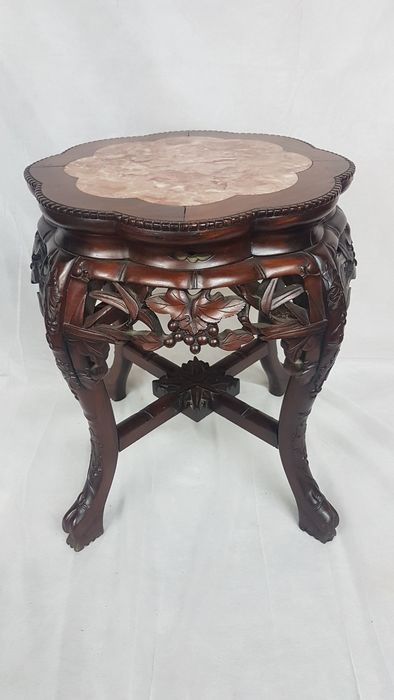 Side table - Marble, Rosewood - China - 2nd half of the 20th century