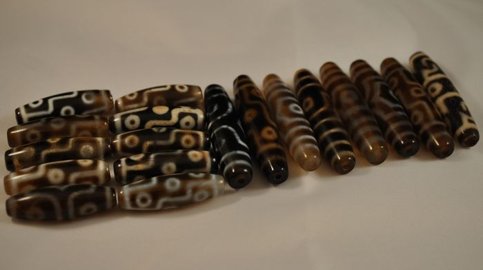 Beads (18) - Agate - China - Late 20th century
