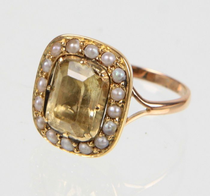 18 kt. Gold - Ring Citrine - Pearls