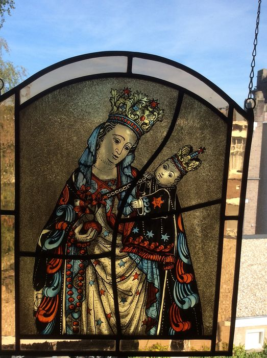 "Hand-stained window hanger from ""Santa Maria della Salute with child"" - Stained glass"