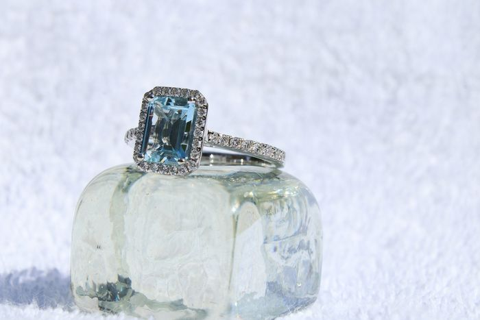 LM Juwellwers - 18 kt. White gold - Ring - 1.20 ct Aquamarine - Diamonds