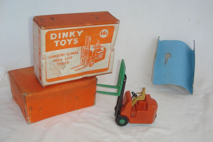 "Dinky Toys - 1:48 - First Issue ""Coventry Climax Fork Lift Truck"" no.14c - 1949 - In Original First Issue ""orange"" Box"