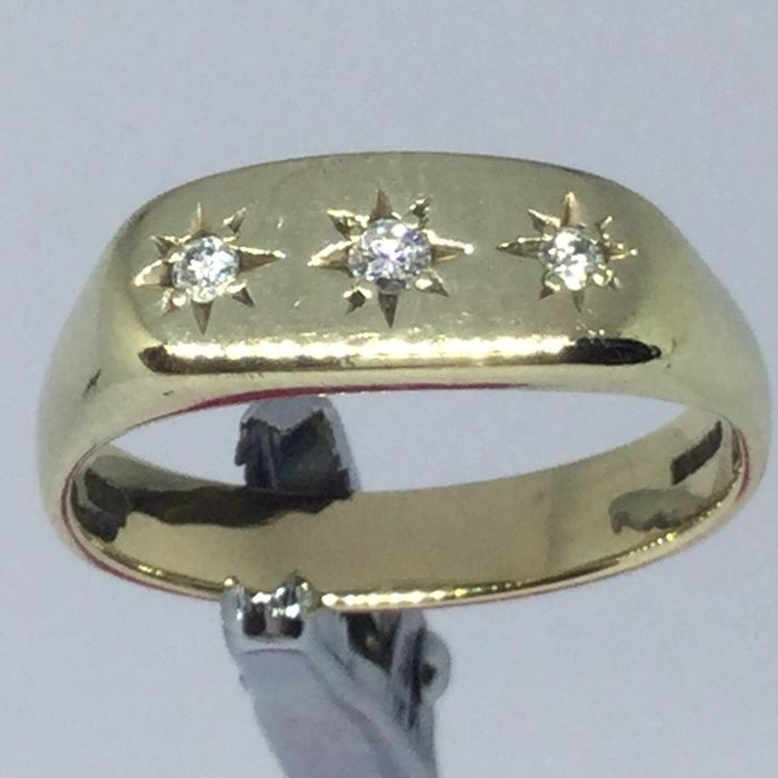 9K Yellow gold - Ring - .12 ct Diamond