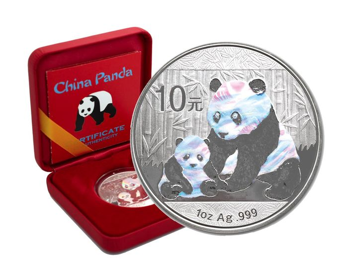 Chine - 10 Yuan 2012  Panda -  Holographic Edition in Box & CoA - 1 oz - Argent