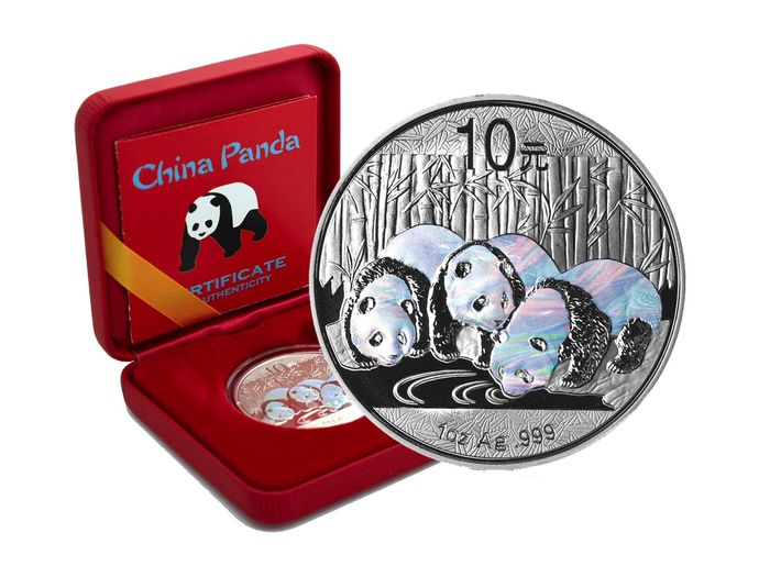 China - 10 Yuan 2013  Panda -  Holographic Edition in Box & CoA - 1 oz - Silver