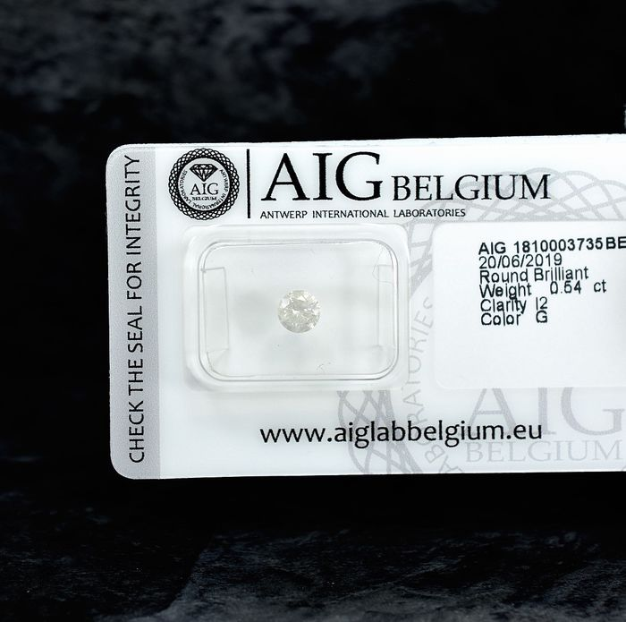 Diamant - 0.54 ct - Brillant - G - I2 - NO RESERVE PRICE - VG/VG/VG
