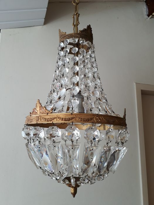 Pocket chandelier with cut crystals - Empire - Brass