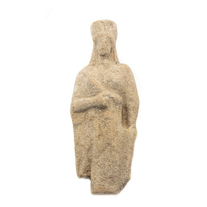 Ancient Greek Terracotta Votive Statuette of a Koré (young maiden)