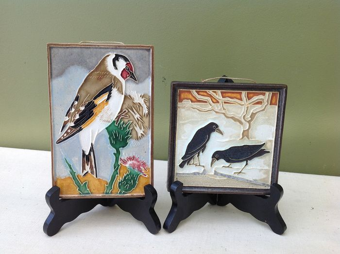 De Porceleyne Fles & Westraven  - Polychrome glazed cloissonné tiles with birds (2) - Earthenware