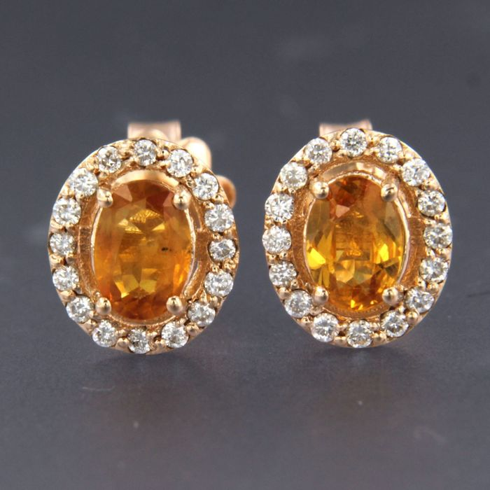 14 kt. Pink gold - Earrings - 1.30 ct Citrine - Diamond
