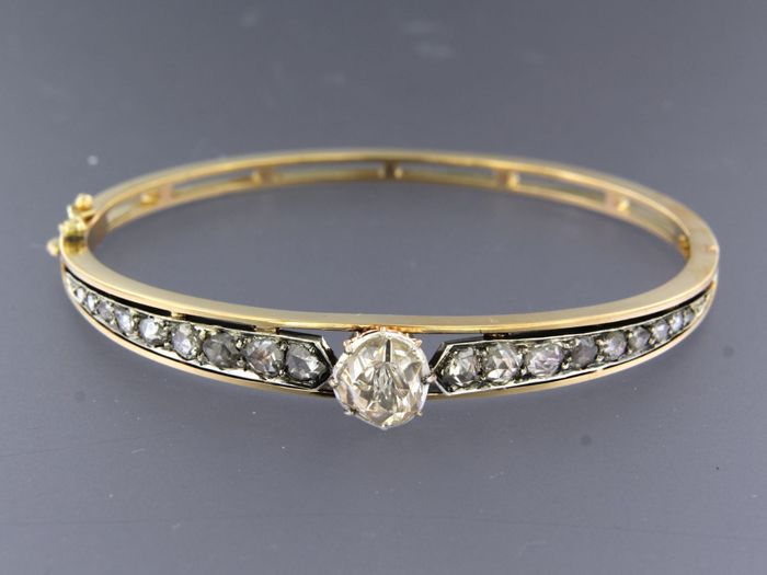 14k geel goud met zilver Z2 Silver, Yellow gold - Bracelet - 1.80 ct Diamond