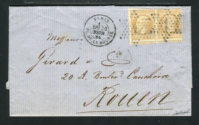 France 1866 - Superb letter from Paris to Rouen with a pair of No. 21 - absent fillet variety
