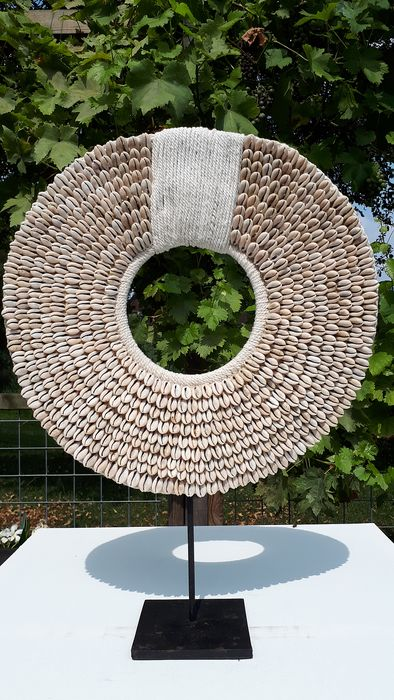 Shell necklace on standard - shells and natural fibers