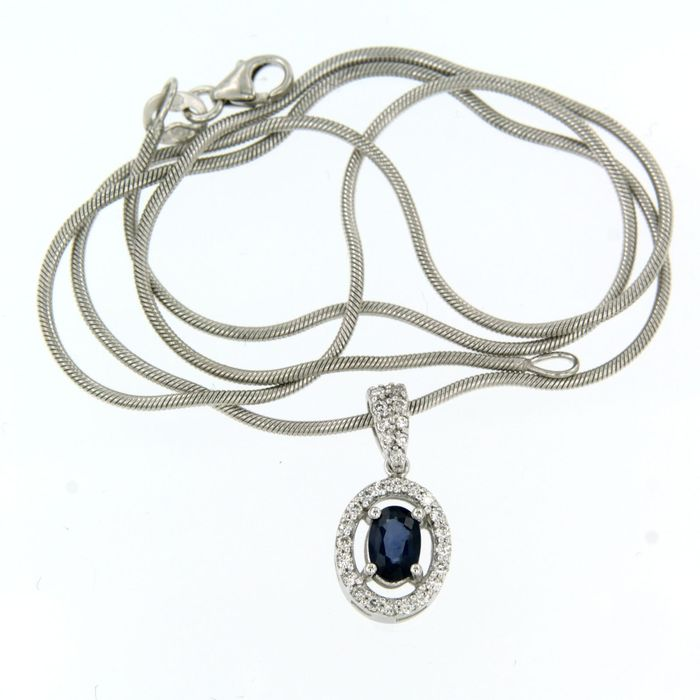 14 kt. White gold - Necklace with pendant - 0.65 ct Sapphire - Diamond
