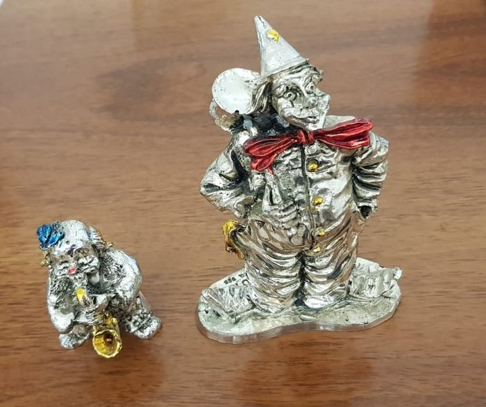 Silver Clowns and Chess (3) - .925 silver - Vincenzi - Italy - First half 20th century