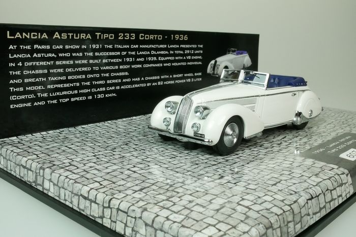 MiniChamps - 1:43 - Lancia Astura Tipo 233 Corto Cabriolet - 1936 - First Class Collection - white - 1 of 999 pieces